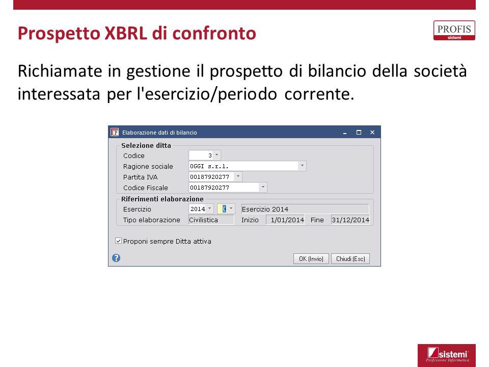 Richiamate in gestione il prospetto di bilancio della società interessata per l'esercizio/periodo corrente. Prospetto XBRL di confronto
