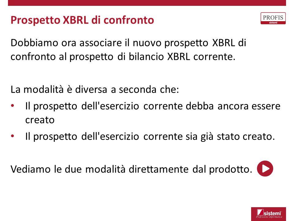 Dobbiamo ora associare il nuovo prospetto XBRL di confronto al prospetto di bilancio XBRL corrente. La modalità è diversa a seconda che: Il prospetto