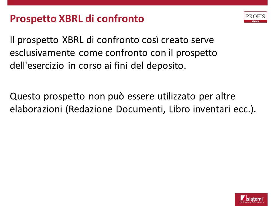 Il prospetto XBRL di confronto così creato serve esclusivamente come confronto con il prospetto dell'esercizio in corso ai fini del deposito. Questo p