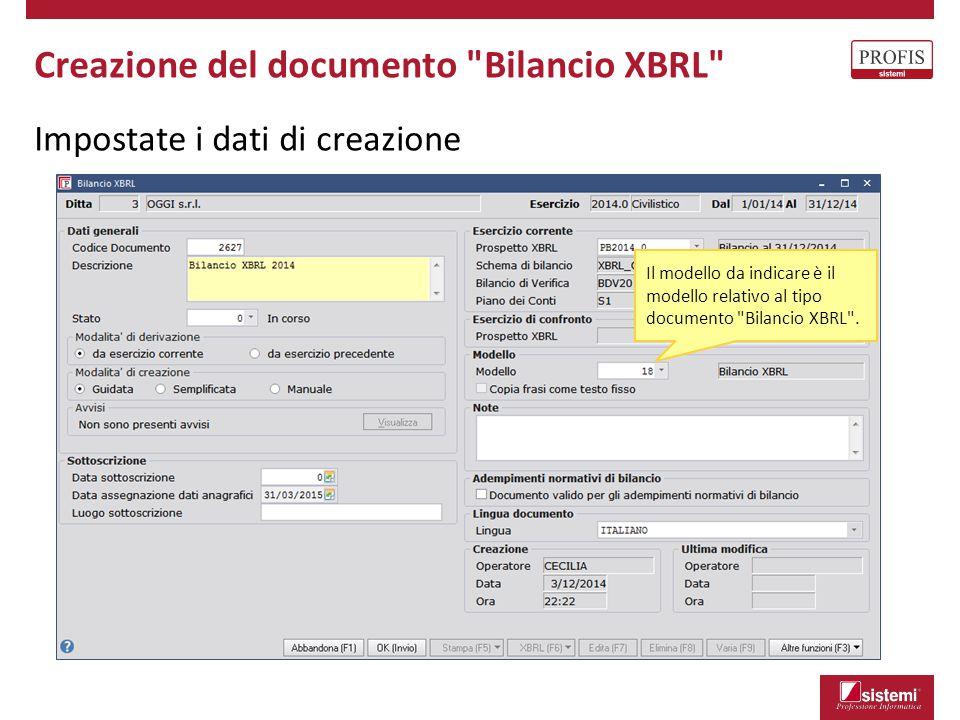 Impostate i dati di creazione Creazione del documento