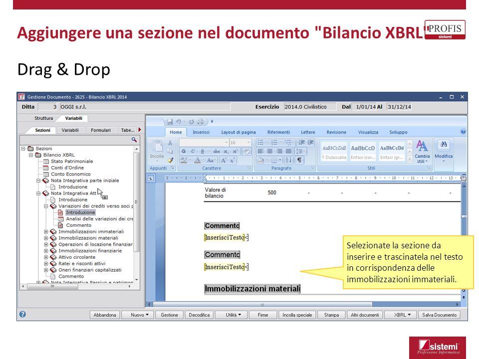 Drag & Drop Aggiungere una sezione nel documento