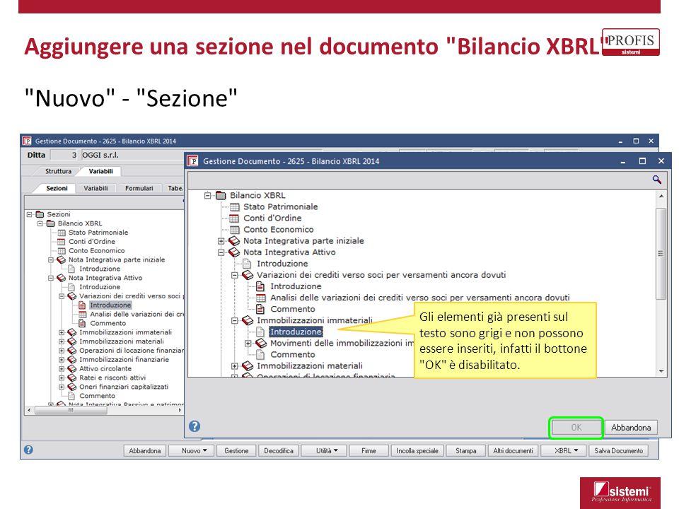 Nuovo - Sezione Gli elementi già presenti sul testo sono grigi e non possono essere inseriti, infatti il bottone OK è disabilitato.