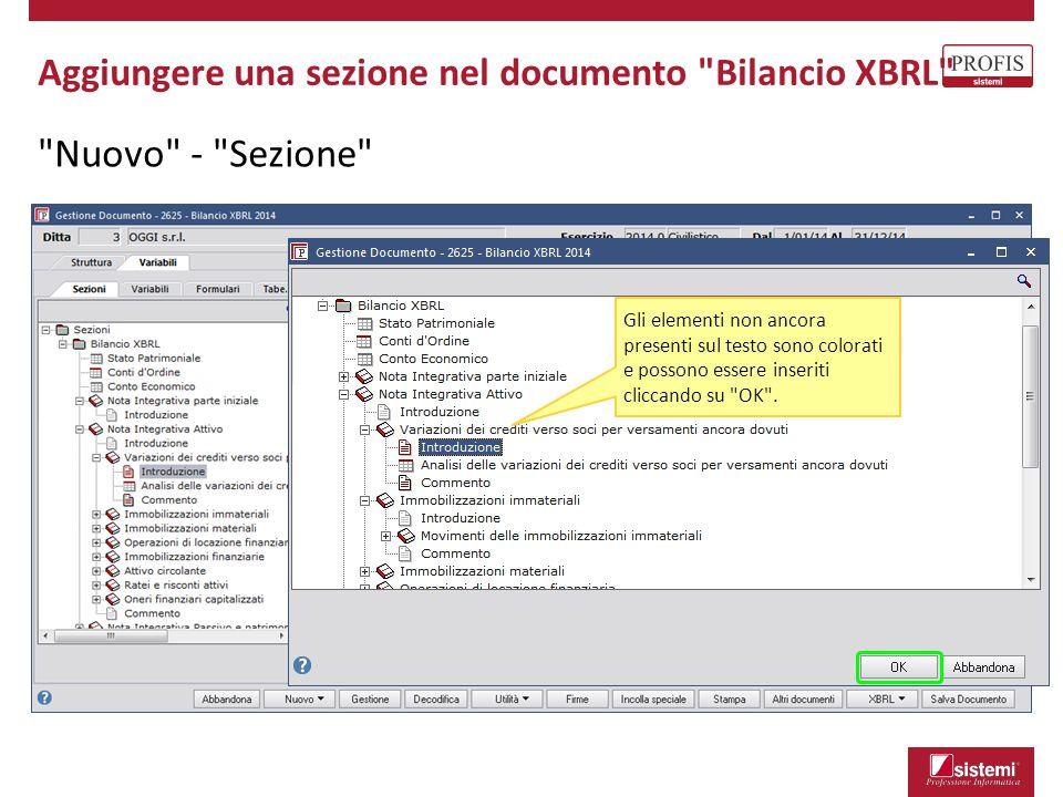 Nuovo - Sezione Aggiungere una sezione nel documento Bilancio XBRL Gli elementi non ancora presenti sul testo sono colorati e possono essere inseriti cliccando su OK .
