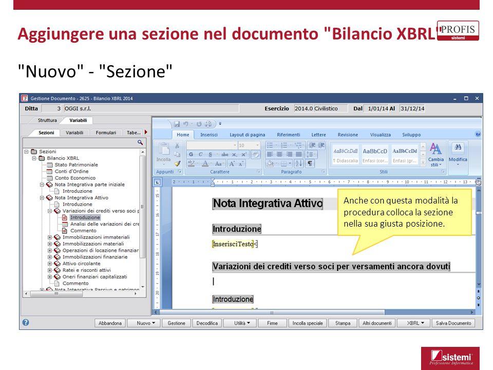 Nuovo - Sezione Aggiungere una sezione nel documento Bilancio XBRL Anche con questa modalità la procedura colloca la sezione nella sua giusta posizione.