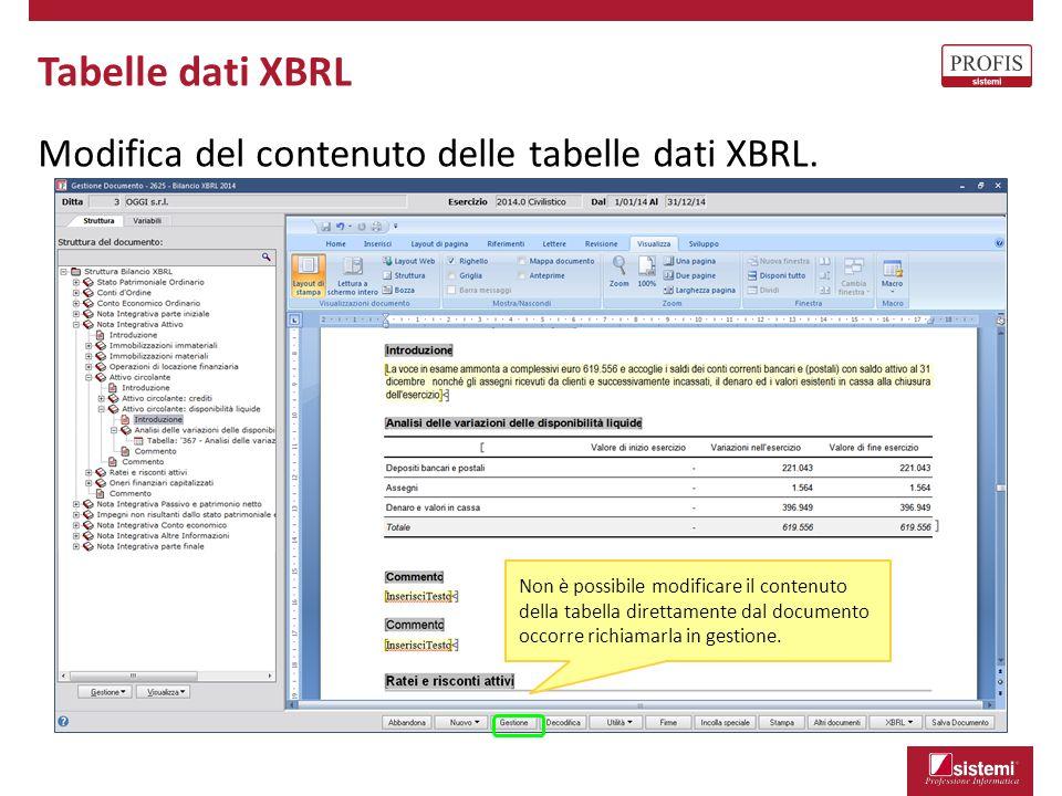 Tabelle dati XBRL Modifica del contenuto delle tabelle dati XBRL. Non è possibile modificare il contenuto della tabella direttamente dal documento occ