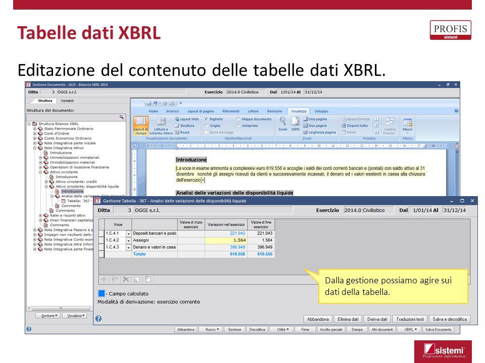 Tabelle dati XBRL Editazione del contenuto delle tabelle dati XBRL. Dalla gestione possiamo agire sui dati della tabella.