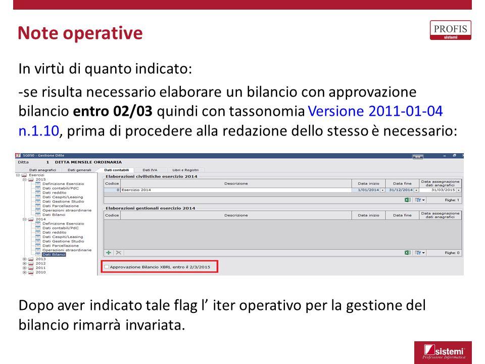 Bilancio XBRL: novità aggiornamento Novità introdotte in Bilanci - Elaborazione Dati di bilancio: Il prospetto XBRL viene creato direttamente con i nuovi schemi XBRL.