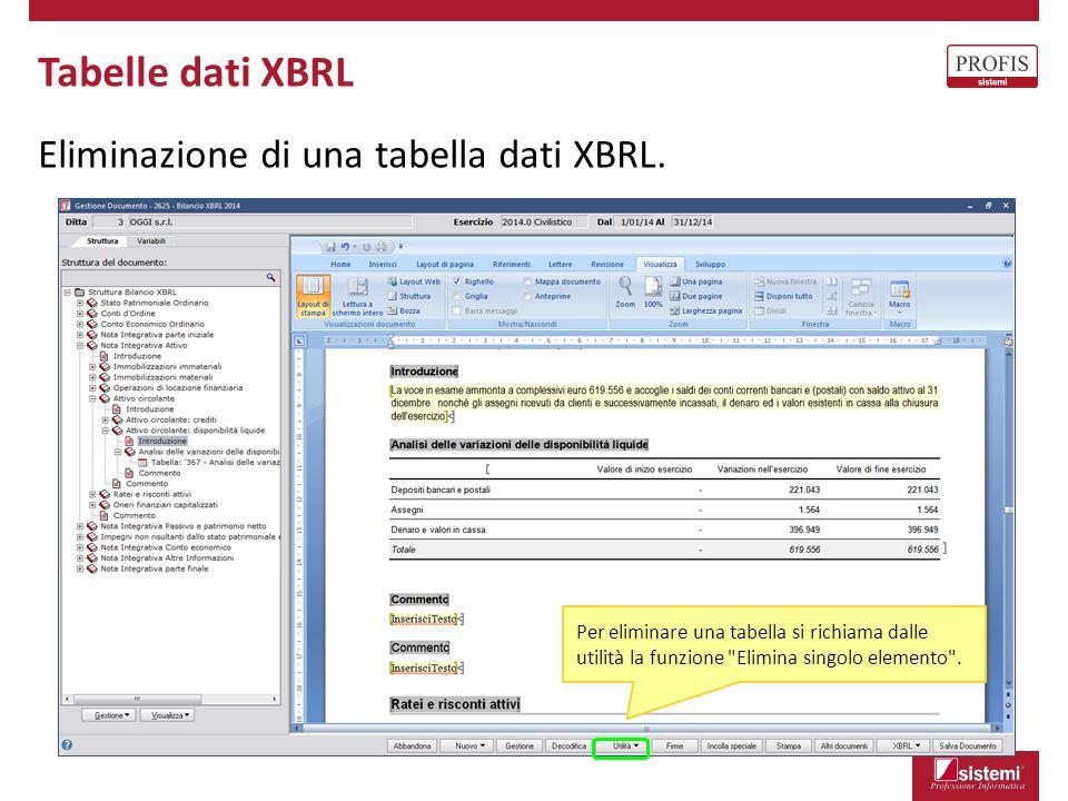 Tabelle dati XBRL Eliminazione di una tabella dati XBRL. Per eliminare una tabella si richiama dalle utilità la funzione