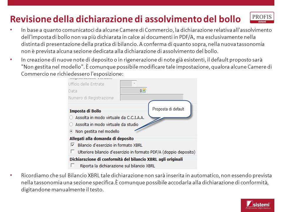 Revisione della dichiarazione di assolvimento del bollo In base a quanto comunicatoci da alcune Camere di Commercio, la dichiarazione relativa all'ass
