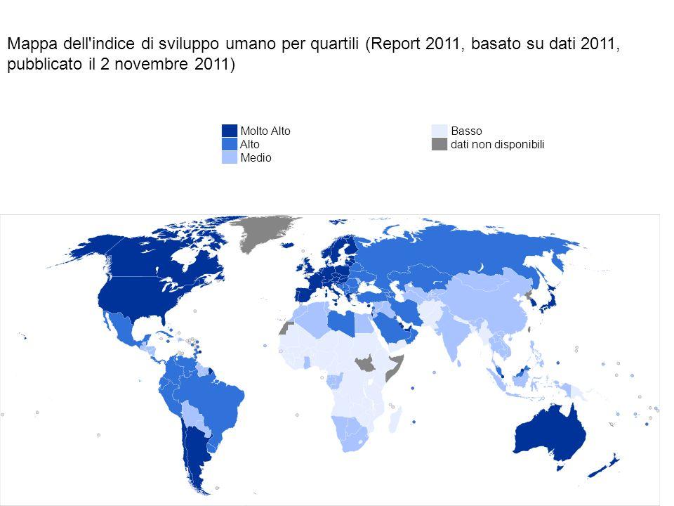 Mappa dell'indice di sviluppo umano per quartili (Report 2011, basato su dati 2011, pubblicato il 2 novembre 2011) ██ Molto Alto ██ Alto ██ Medio ██ B