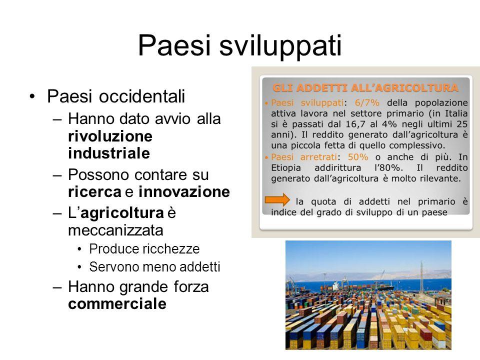 Paesi sviluppati Paesi occidentali –Hanno dato avvio alla rivoluzione industriale –Possono contare su ricerca e innovazione –L'agricoltura è meccanizz