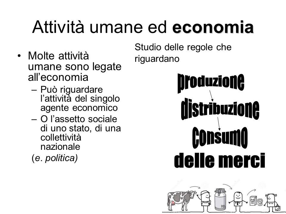 economia Attività umane ed economia Molte attività umane sono legate all'economia –Può riguardare l'attività del singolo agente economico –O l'assetto