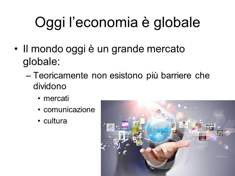 Oggi l'economia è globale Il mondo oggi è un grande mercato globale: –Teoricamente non esistono più barriere che dividono mercati comunicazione cultur