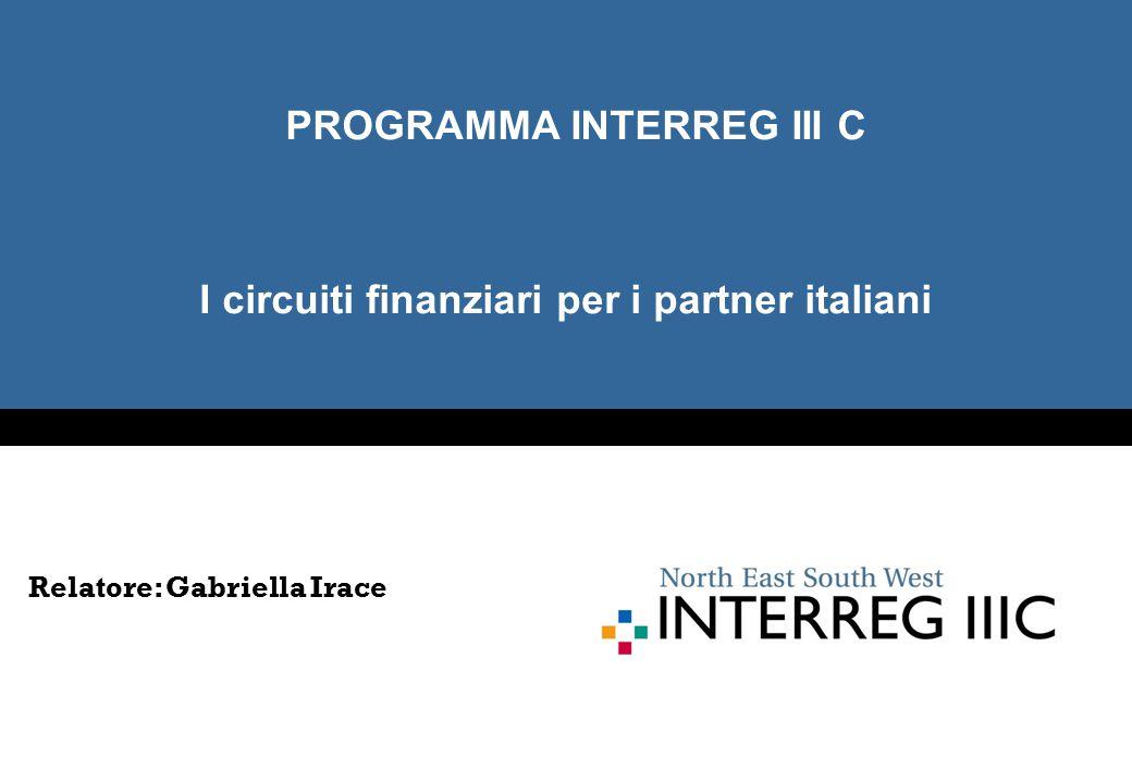 I circuiti finanziari per i partner italiani PROGRAMMA INTERREG III C Relatore: Gabriella Irace