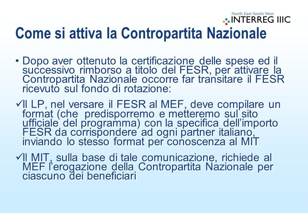 Dopo aver ottenuto la certificazione delle spese ed il successivo rimborso a titolo del FESR, per attivare la Contropartita Nazionale occorre far transitare il FESR ricevuto sul fondo di rotazione: Il LP, nel versare il FESR al MEF, deve compilare un format (che predisporremo e metteremo sul sito ufficiale del programma) con la specifica dell'importo FESR da corrispondere ad ogni partner italiano, inviando lo stesso format per conoscenza al MIT Il MIT, sulla base di tale comunicazione, richiede al MEF l'erogazione della Contropartita Nazionale per ciascuno dei beneficiari Dopo aver ottenuto la certificazione delle spese ed il successivo rimborso a titolo del FESR, per attivare la Contropartita Nazionale occorre far transitare il FESR ricevuto sul fondo di rotazione: Il LP, nel versare il FESR al MEF, deve compilare un format (che predisporremo e metteremo sul sito ufficiale del programma) con la specifica dell'importo FESR da corrispondere ad ogni partner italiano, inviando lo stesso format per conoscenza al MIT Il MIT, sulla base di tale comunicazione, richiede al MEF l'erogazione della Contropartita Nazionale per ciascuno dei beneficiari Come si attiva la Contropartita Nazionale