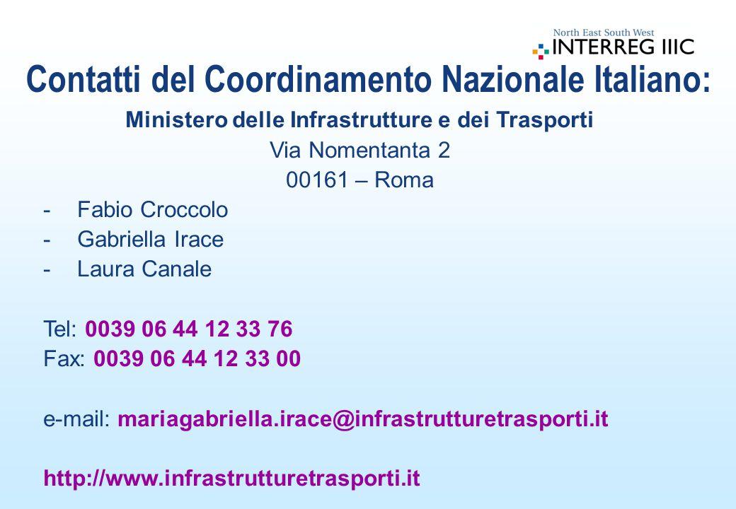 Ministero delle Infrastrutture e dei Trasporti Via Nomentanta 2 00161 – Roma -Fabio Croccolo -Gabriella Irace -Laura Canale Tel: 0039 06 44 12 33 76 Fax: 0039 06 44 12 33 00 e-mail: mariagabriella.irace@infrastrutturetrasporti.it http://www.infrastrutturetrasporti.it Contatti del Coordinamento Nazionale Italiano:
