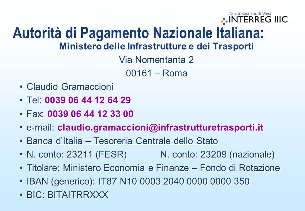 Autorità di Pagamento Nazionale Italiana: Ministero delle Infrastrutture e dei Trasporti Via Nomentanta 2 00161 – Roma Claudio Gramaccioni Tel: 0039 0