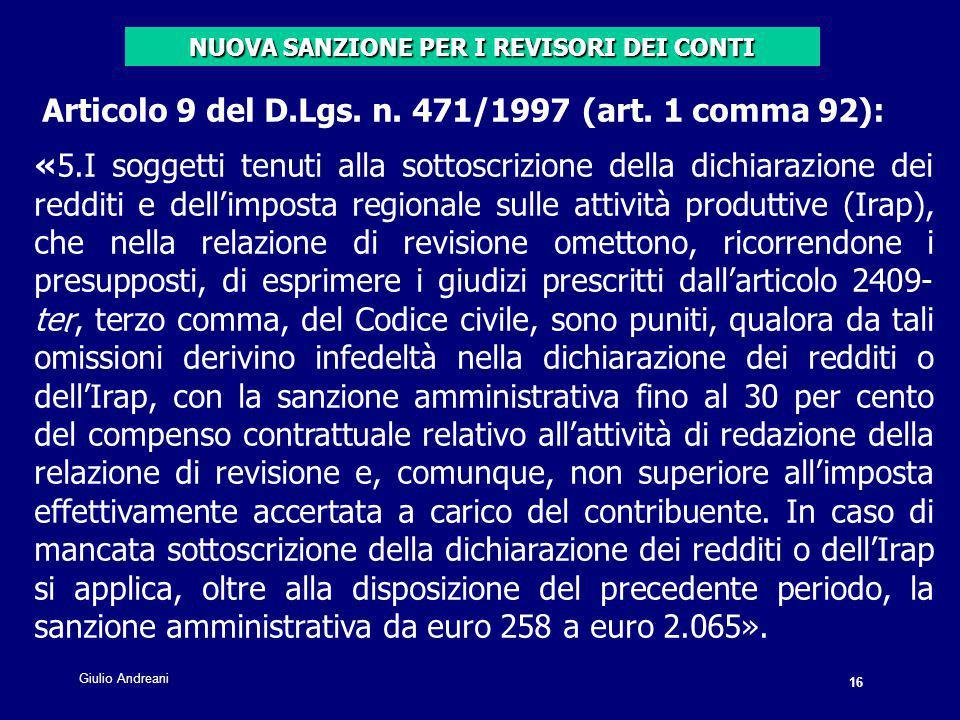 16 Giulio Andreani. Articolo 9 del D.Lgs. n. 471/1997 (art.