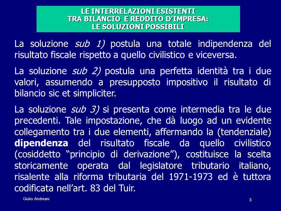 3 Giulio Andreani La soluzione sub 1) postula una totale indipendenza del risultato fiscale rispetto a quello civilistico e viceversa.