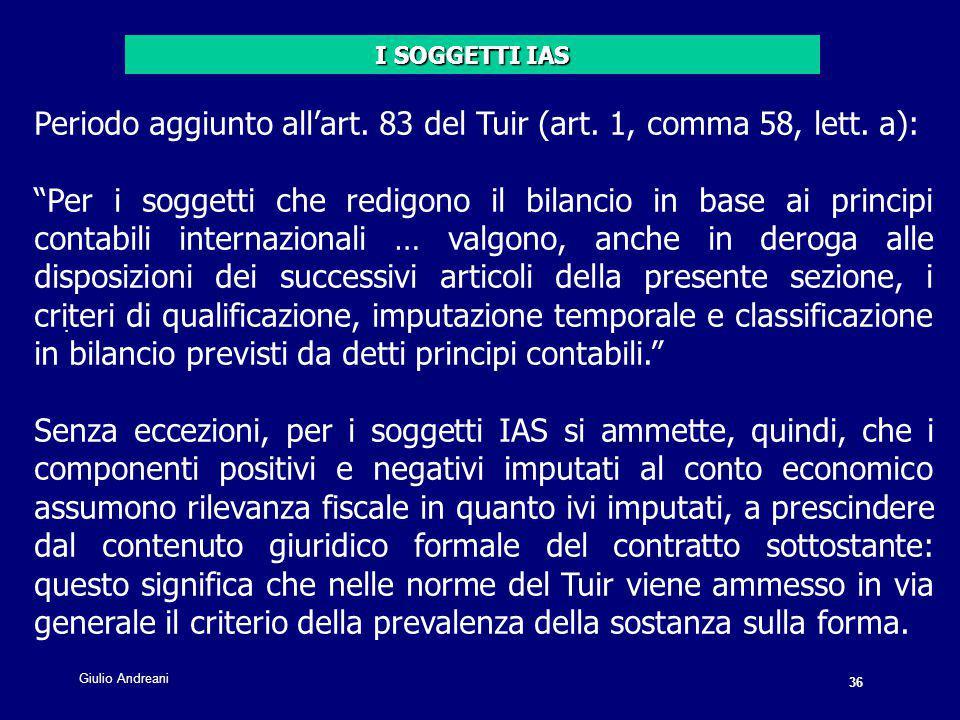 36 Giulio Andreani. Periodo aggiunto all'art. 83 del Tuir (art.