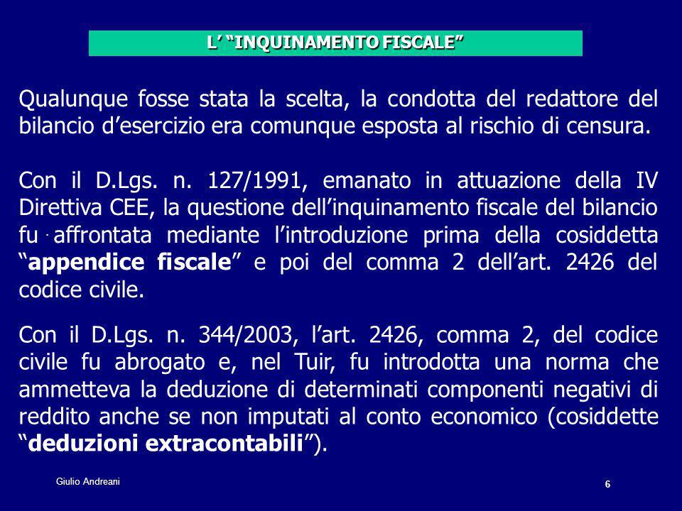 47 Giulio Andreani.Ammortamento avviamento Costo 100.
