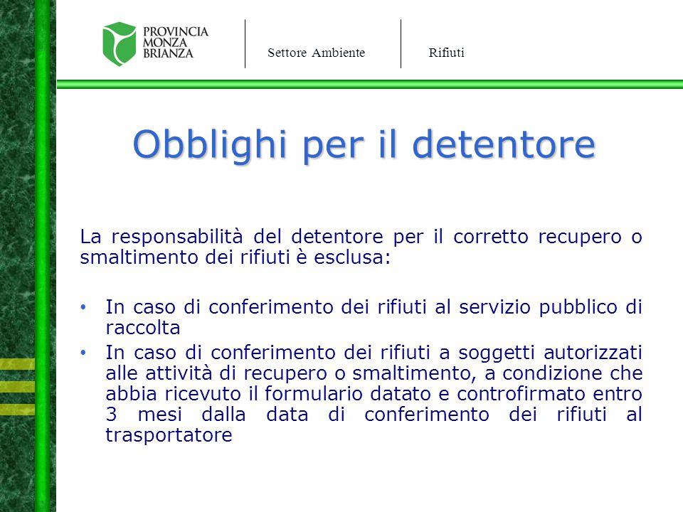 Settore AmbienteRifiuti Obblighi per il detentore La responsabilità del detentore per il corretto recupero o smaltimento dei rifiuti è esclusa: In cas