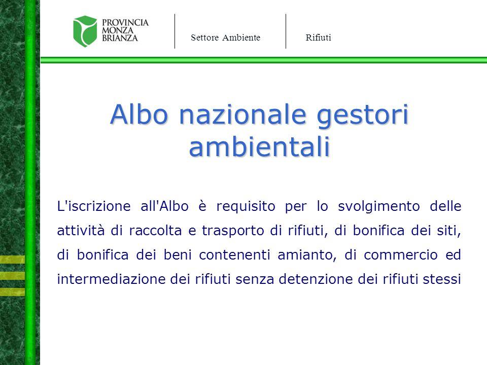 Settore AmbienteRifiuti Albo nazionale gestori ambientali L'iscrizione all'Albo è requisito per lo svolgimento delle attività di raccolta e trasporto