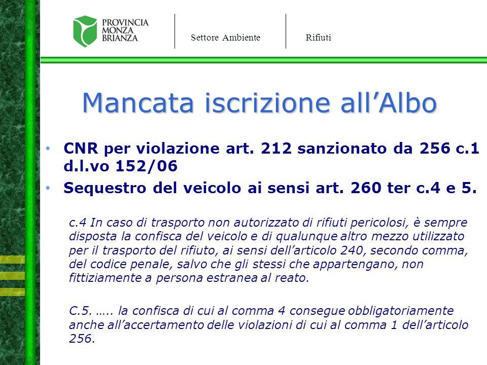 Settore AmbienteRifiuti Mancata iscrizione all'Albo CNR per violazione art. 212 sanzionato da 256 c.1 d.l.vo 152/06 Sequestro del veicolo ai sensi art