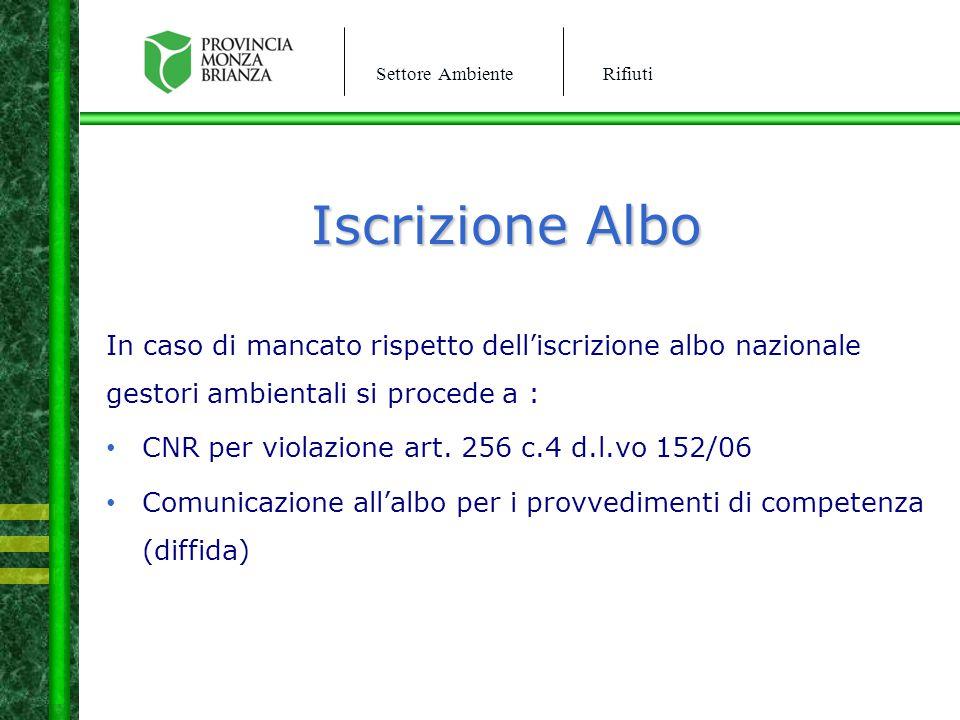 Settore AmbienteRifiuti Iscrizione Albo In caso di mancato rispetto dell'iscrizione albo nazionale gestori ambientali si procede a : CNR per violazion