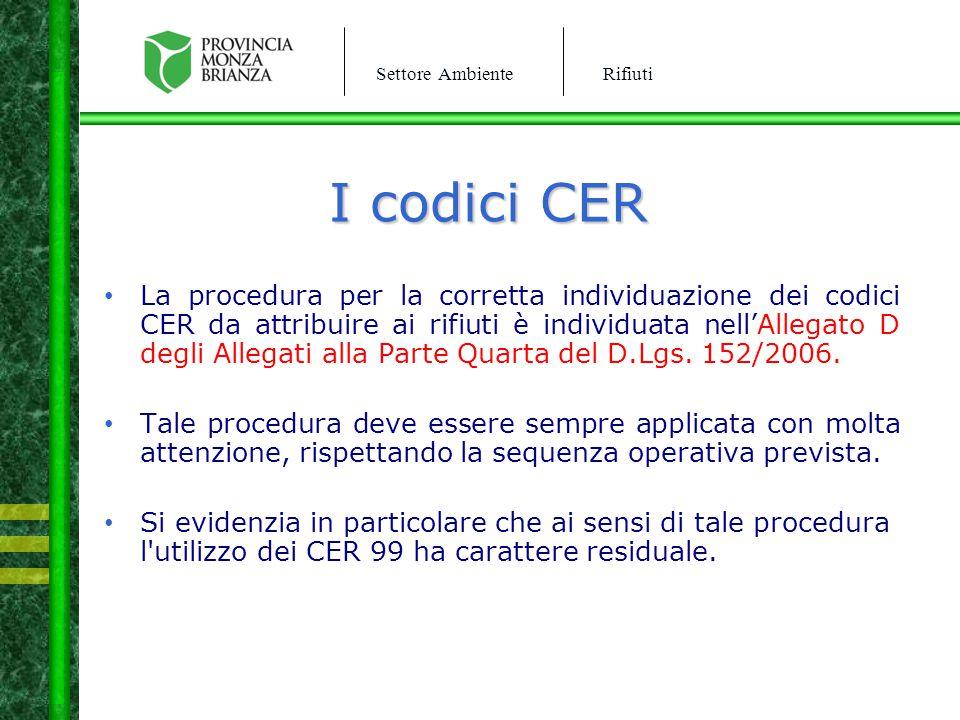 Settore AmbienteRifiuti I codici CER La procedura per la corretta individuazione dei codici CER da attribuire ai rifiuti è individuata nell'Allegato D