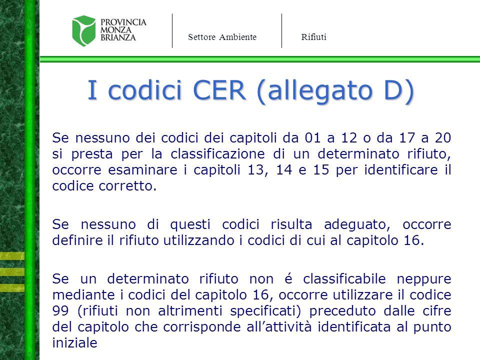 Settore AmbienteRifiuti I codici CER (allegato D) Se nessuno dei codici dei capitoli da 01 a 12 o da 17 a 20 si presta per la classificazione di un de