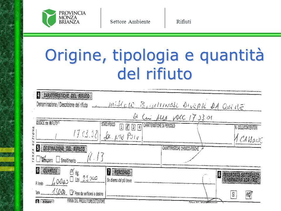 Settore AmbienteRifiuti Origine, tipologia e quantità del rifiuto