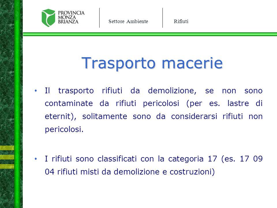 Settore AmbienteRifiuti Trasporto macerie Il trasporto rifiuti da demolizione, se non sono contaminate da rifiuti pericolosi (per es. lastre di eterni