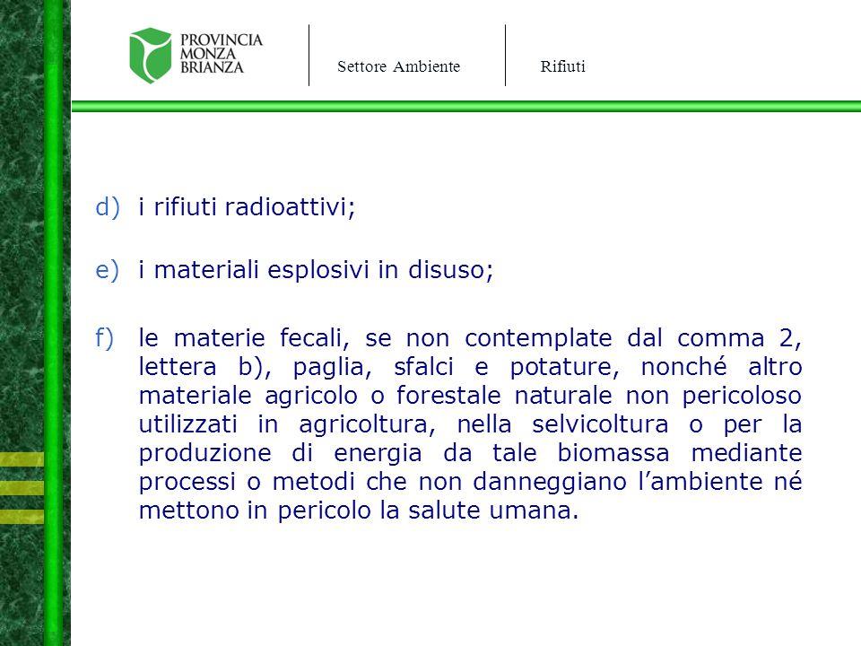 Settore AmbienteRifiuti d)i rifiuti radioattivi; e)i materiali esplosivi in disuso; f)le materie fecali, se non contemplate dal comma 2, lettera b), p