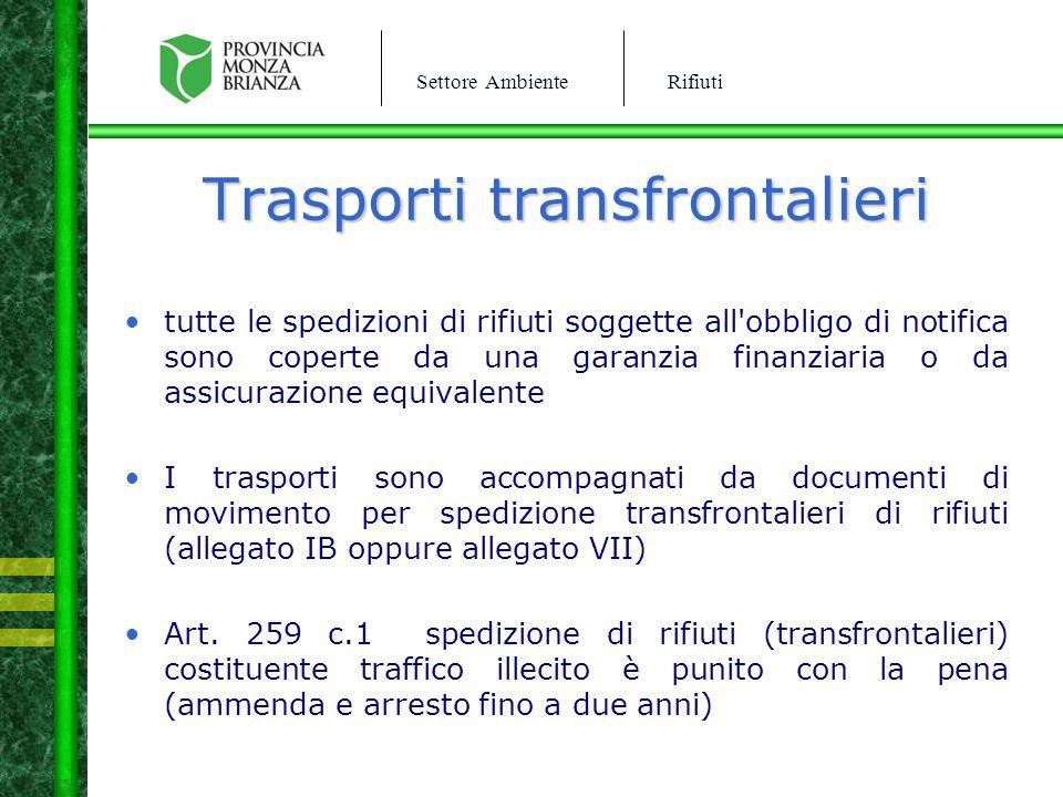 Settore AmbienteRifiuti Trasporti transfrontalieri tutte le spedizioni di rifiuti soggette all'obbligo di notifica sono coperte da una garanzia finanz