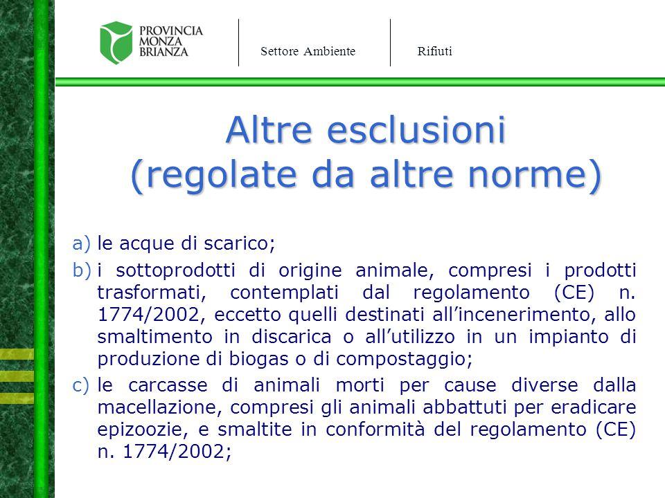Settore AmbienteRifiuti Altre esclusioni (regolate da altre norme) a)le acque di scarico; b)i sottoprodotti di origine animale, compresi i prodotti tr