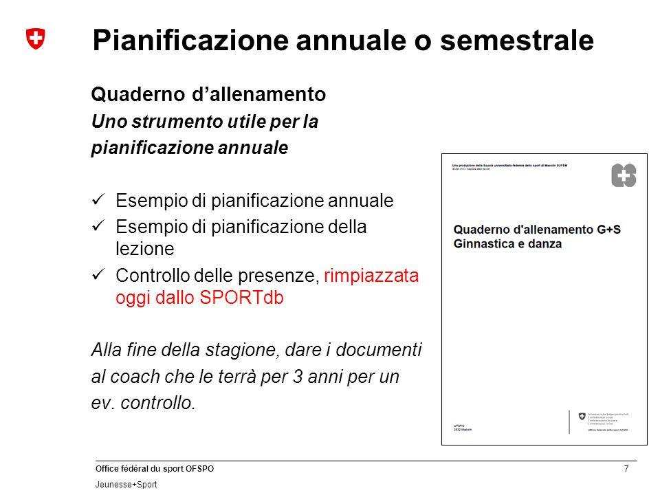 7 Office fédéral du sport OFSPO Jeunesse+Sport Pianificazione annuale o semestrale Quaderno d'allenamento Uno strumento utile per la pianificazione an