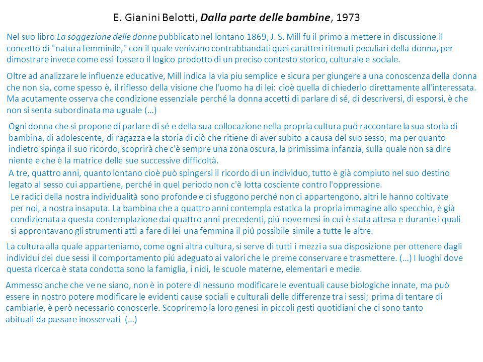 E. Gianini Belotti, Dalla parte delle bambine, 1973 Nel suo libro La soggezione delle donne pubblicato nel lontano 1869, J. S. Mill fu il primo a mett