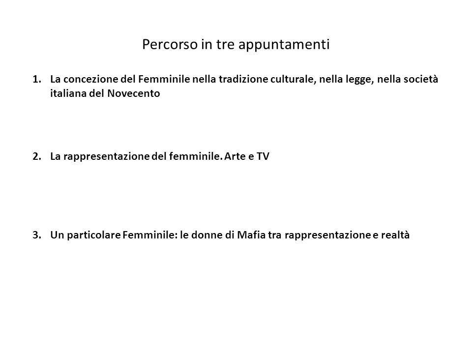 Percorso in tre appuntamenti 1.La concezione del Femminile nella tradizione culturale, nella legge, nella società italiana del Novecento 3.Un particol