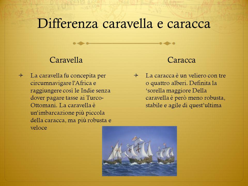 Differenza caravella e caracca Caravella  La caravella fu concepita per circumnavigare l'Africa e raggiungere così le Indie senza dover pagare tasse