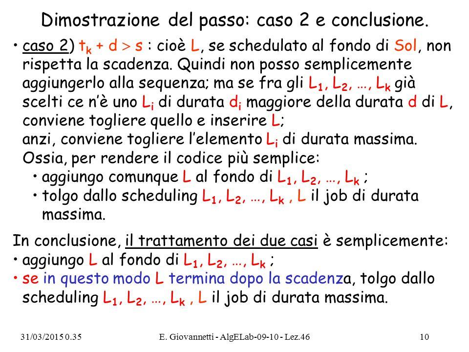 Dimostrazione del passo: caso 2 e conclusione.