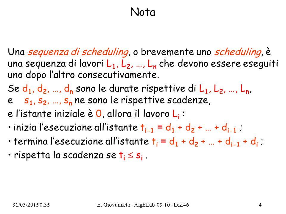 Nota Una sequenza di scheduling, o brevemente uno scheduling, è una sequenza di lavori L 1, L 2, …, L n che devono essere eseguiti uno dopo l'altro consecutivamente.