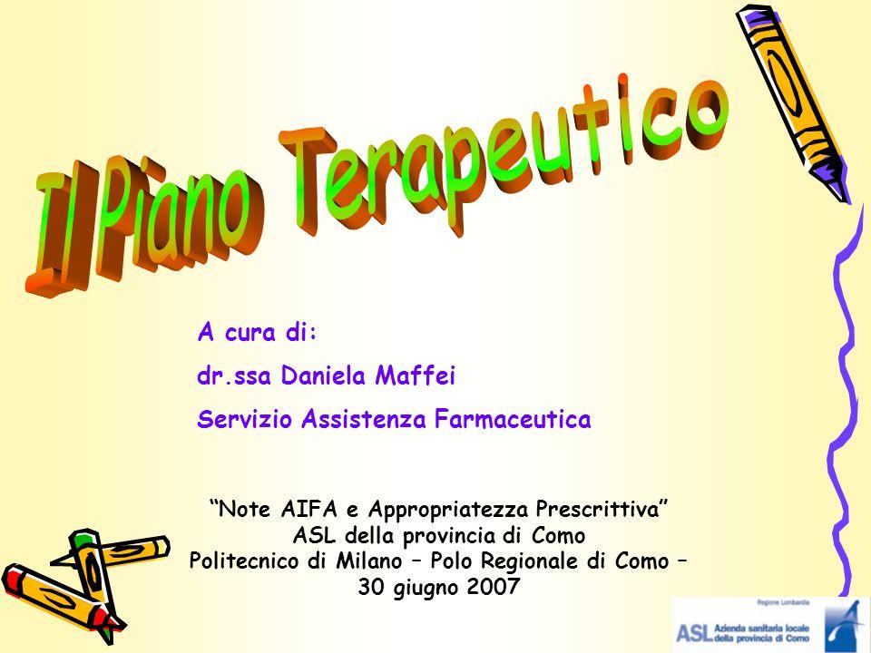 """A cura di: dr.ssa Daniela Maffei Servizio Assistenza Farmaceutica """"Note AIFA e Appropriatezza Prescrittiva"""" ASL della provincia di Como Politecnico di"""