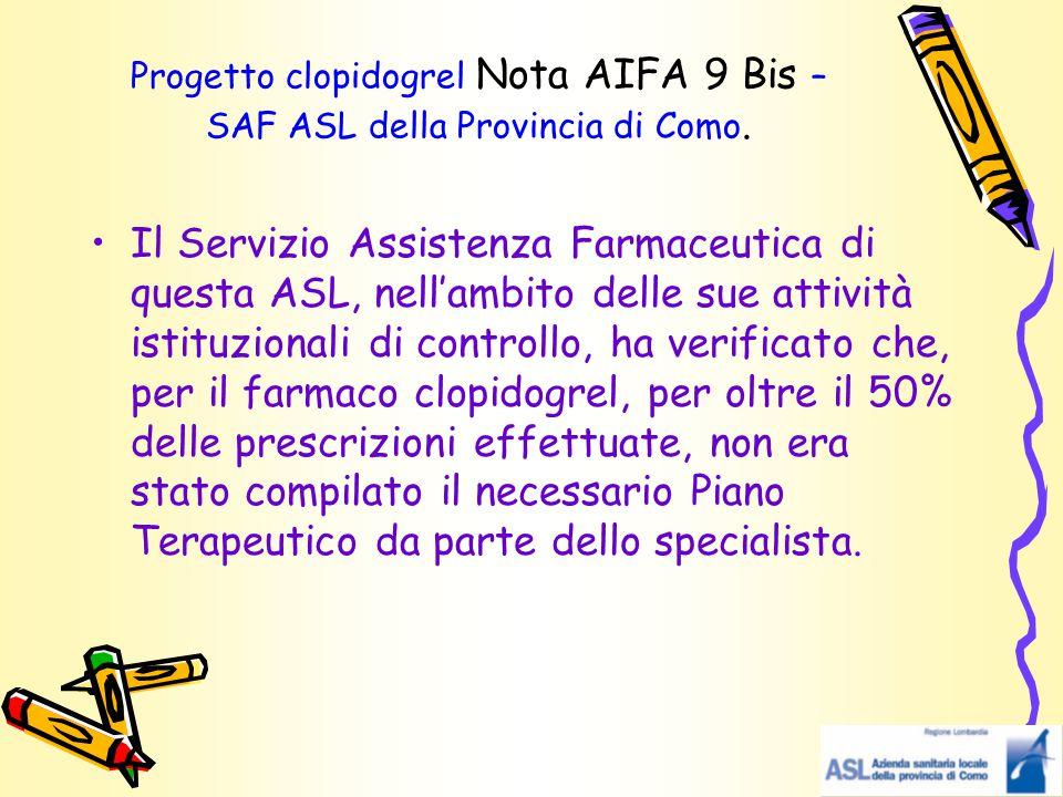 Progetto clopidogrel Nota AIFA 9 Bis – SAF ASL della Provincia di Como. Il Servizio Assistenza Farmaceutica di questa ASL, nell'ambito delle sue attiv