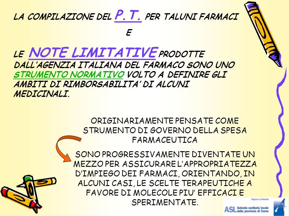 LA COMPILAZIONE DEL P.T. PER TALUNI FARMACI E LE NOTE LIMITATIVE PRODOTTE DALL'AGENZIA ITALIANA DEL FARMACO SONO UNO STRUMENTO NORMATIVO VOLTO A DEFIN