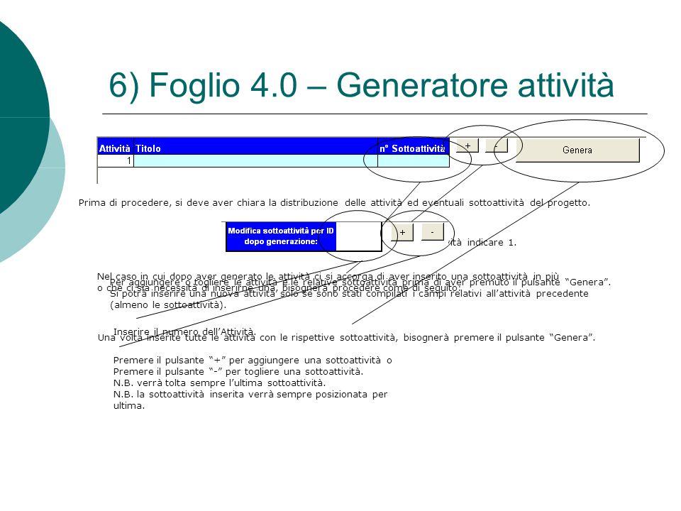 6) Foglio 4.0 – Generatore attività Prima di procedere, si deve aver chiara la distribuzione delle attività ed eventuali sottoattività del progetto. N