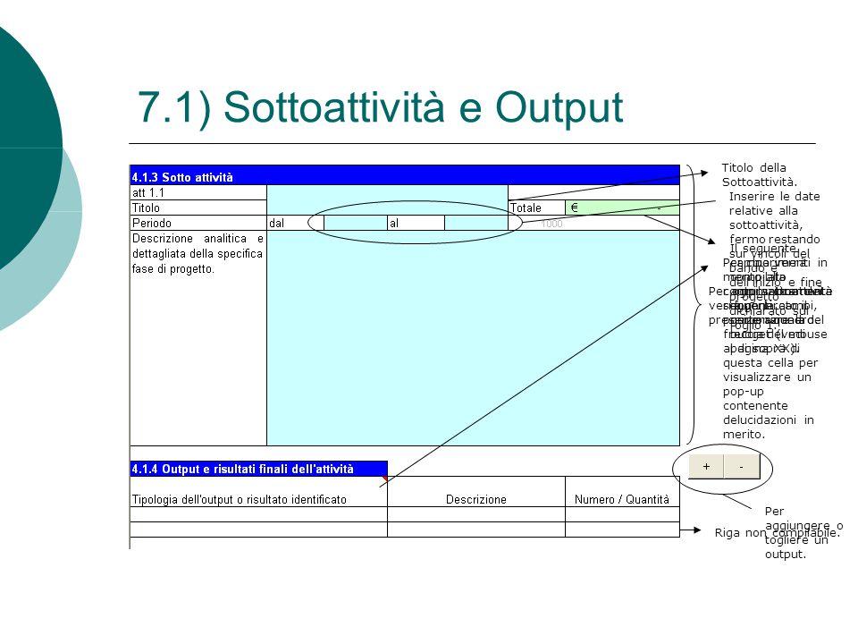 7.1) Sottoattività e Output Per ogni sottoattività verrà generato il presente riquadro. Titolo della Sottoattività. Inserire le date relative alla sot