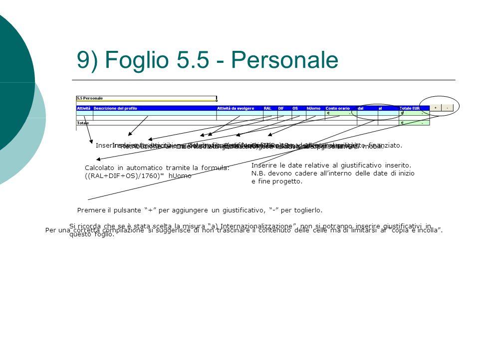 9) Foglio 5.5 - Personale Inserire la sottoattività.Inserire la descrizione del profilo. (es. Nominativo). Inserire l'attività da svolgere relativa al