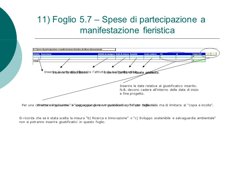 11) Foglio 5.7 – Spese di partecipazione a manifestazione fieristica Inserire la sottoattività. Inserire la descrizione. Inserire l'attività da svolge