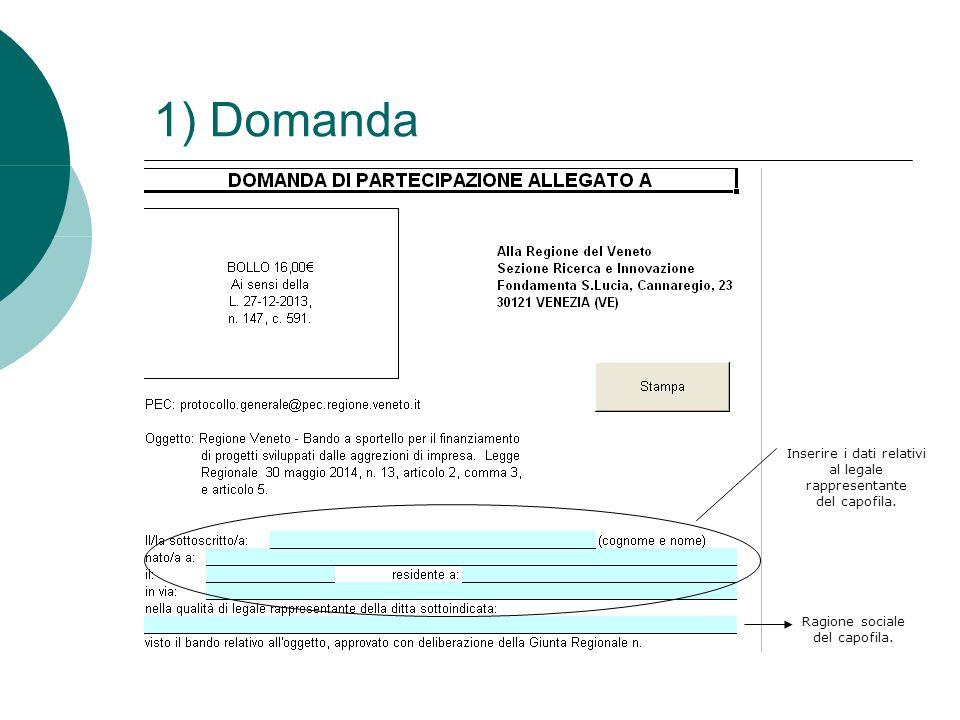 1) Domanda Inserire i dati relativi al legale rappresentante del capofila.